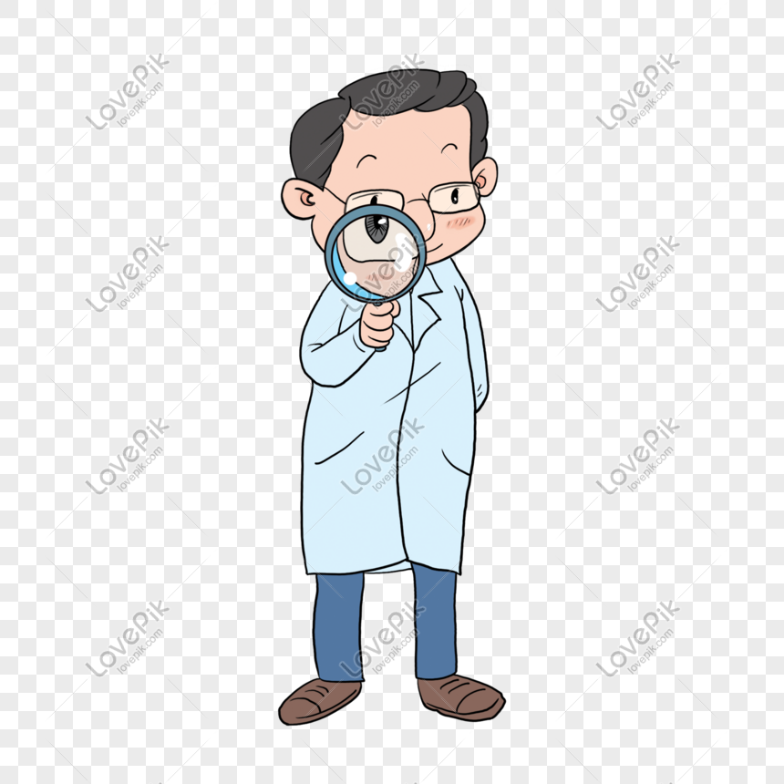 professor holding a magnifying glass png
