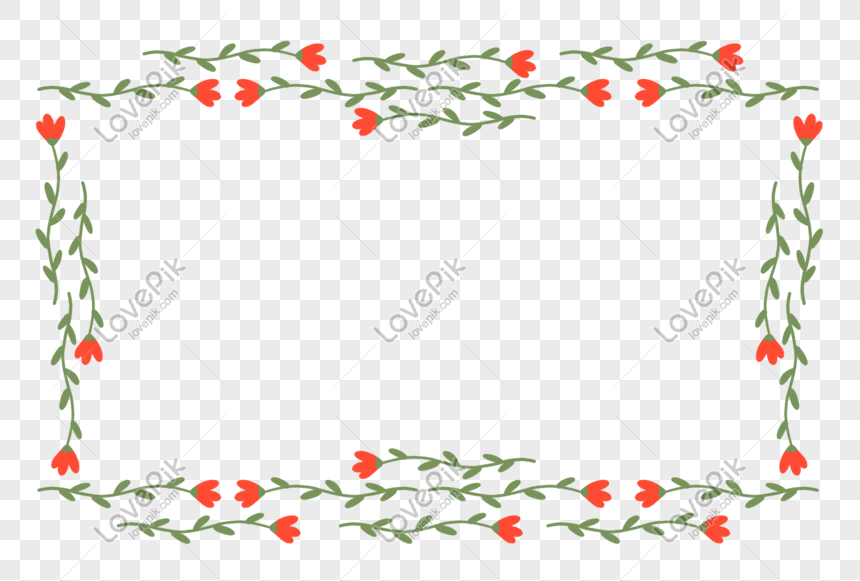 red bouquet plant border material png