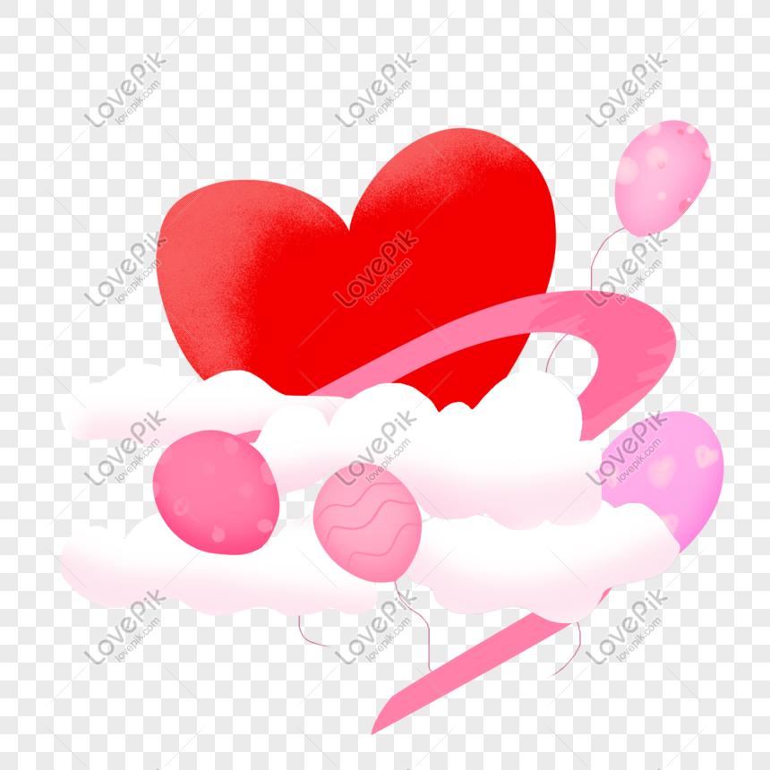 pembe balon aşk bulut dekorasyon malzemesi png