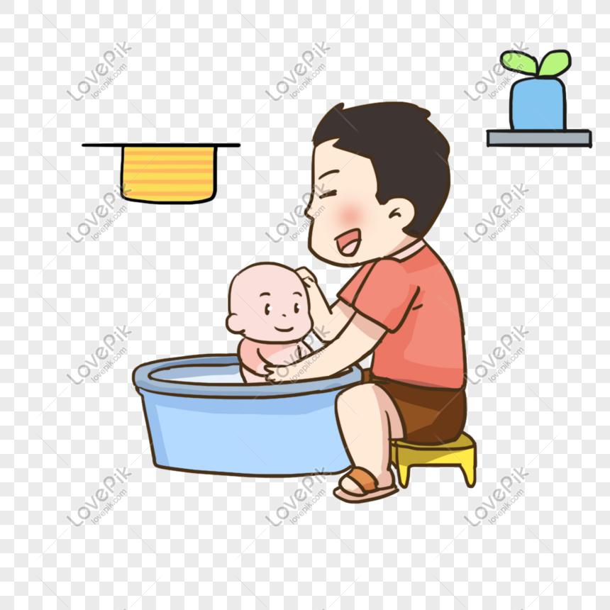 картинка папа купает малыша съемке перемещения звезд