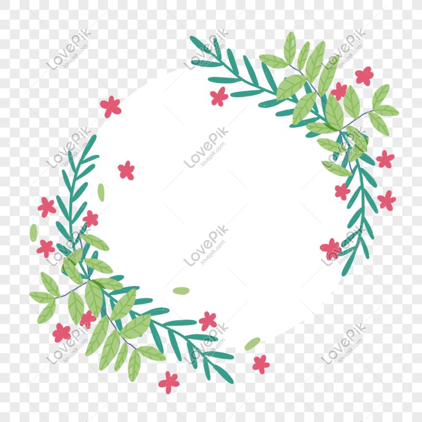 không có bản sao của cây và hoa kết hợp với đường viền tròn png