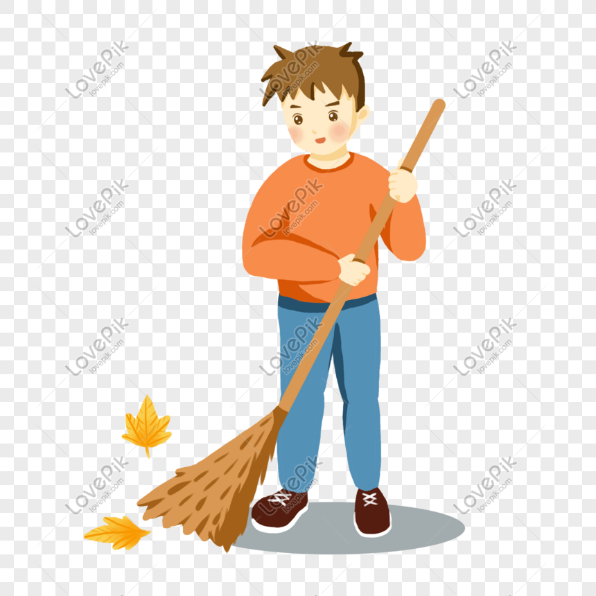 Cartoon Yellow Sweater Boy Sweeping The Floor Png