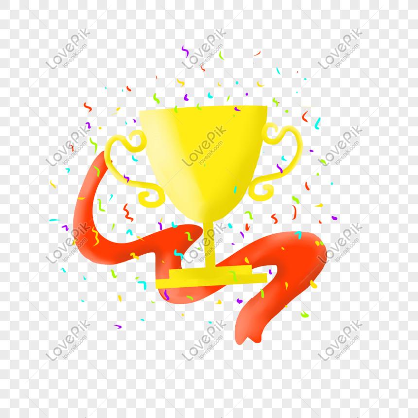 วัสดุตกแต่งถ้วยรางวัลทองคำมือวาด png