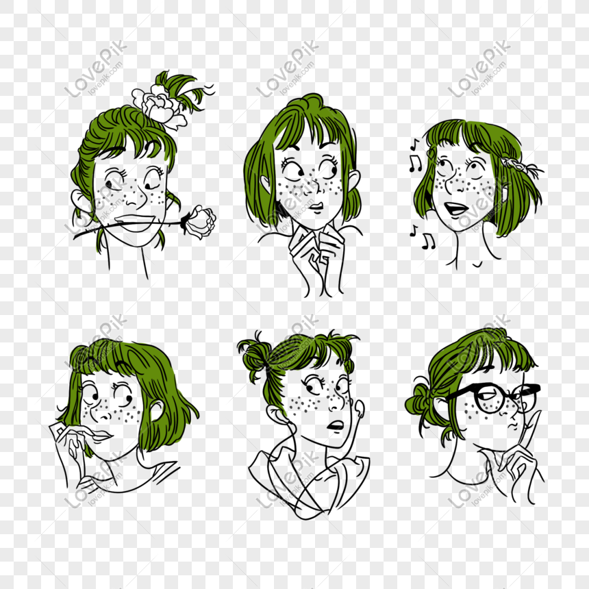 Cartoon Green Short Hair Girl Expression Png Image Picture Free