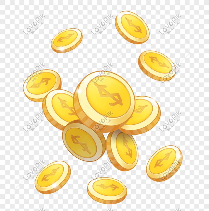 tiền vàng rải rác png