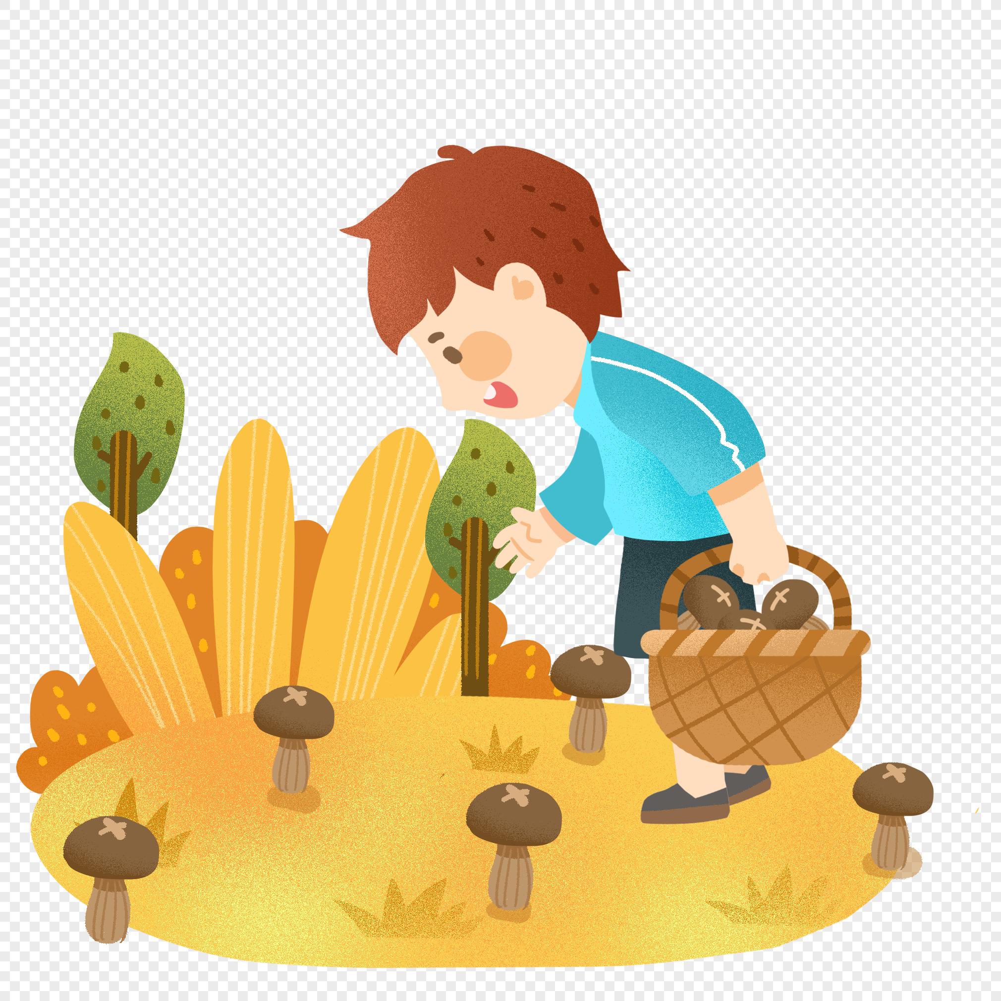 Картинки мальчик собирает грибы
