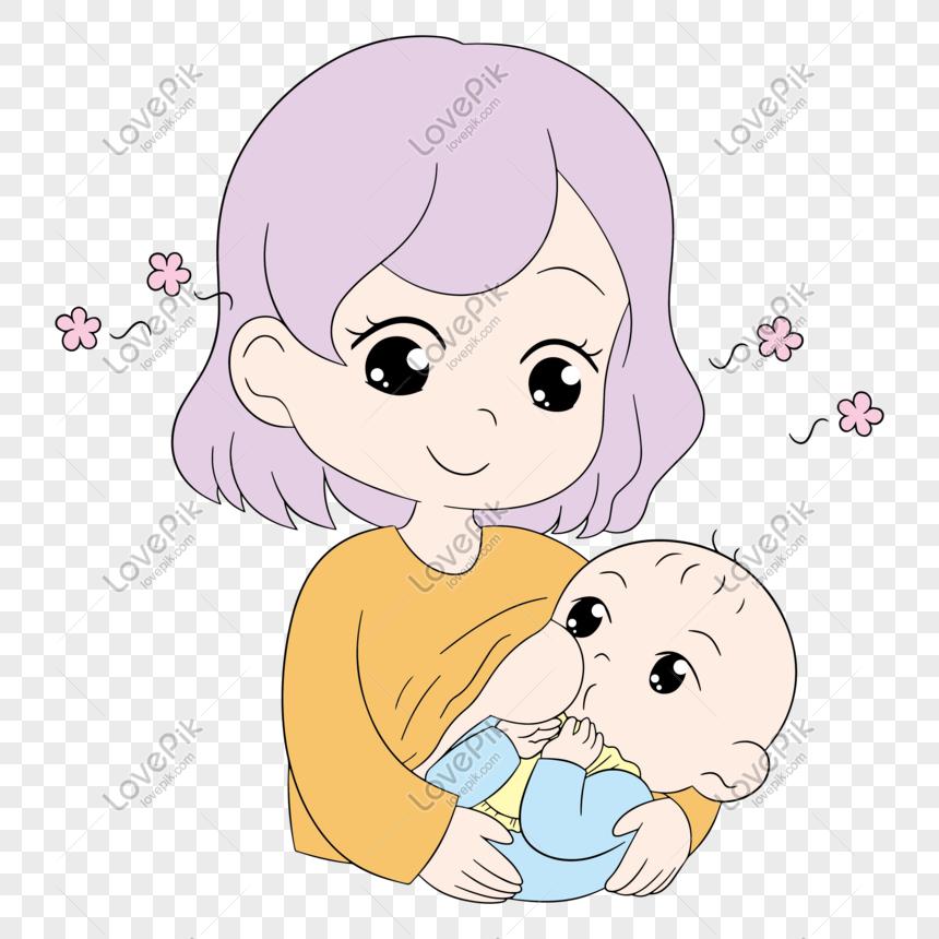 Ibu Menyusui Bayi Ke Ibu Dan Menyusui Bayi Minggu Png Grafik Gambar Unduh Gratis Lovepik