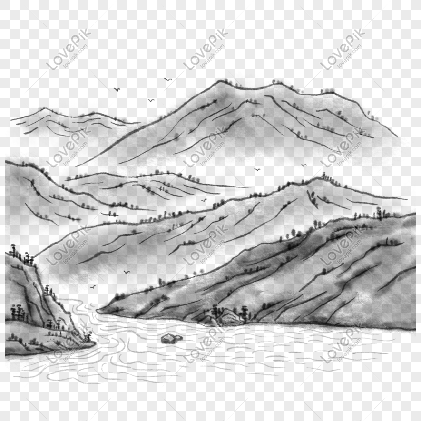 chinese style chinese painting ink landscape png