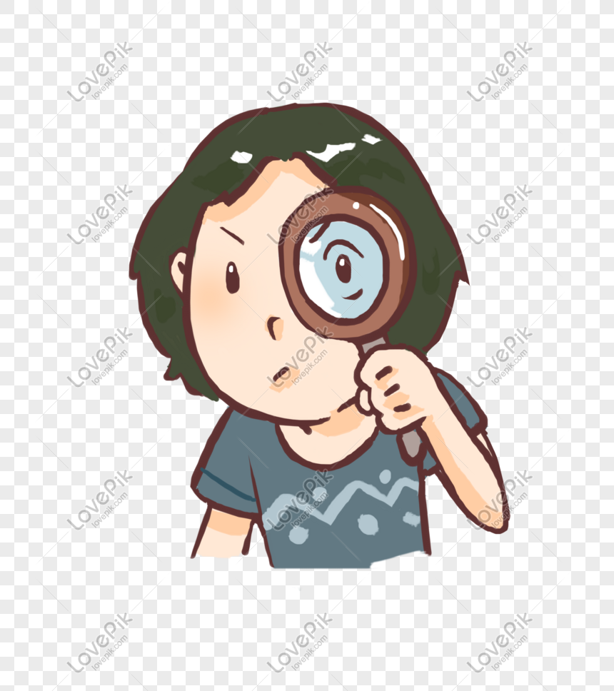 child holding a magnifying glass png