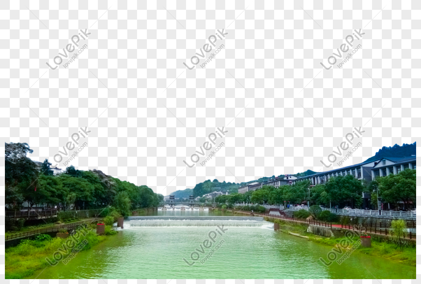 house river under blue sky and white clouds png