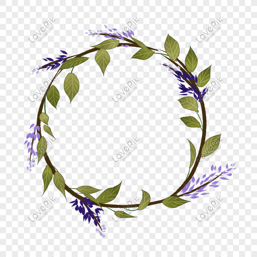 cartoon purple flower wreath png