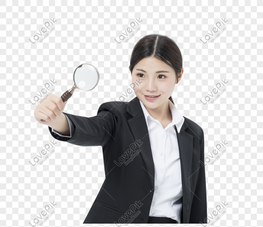 professional woman holding a magnifying glass png