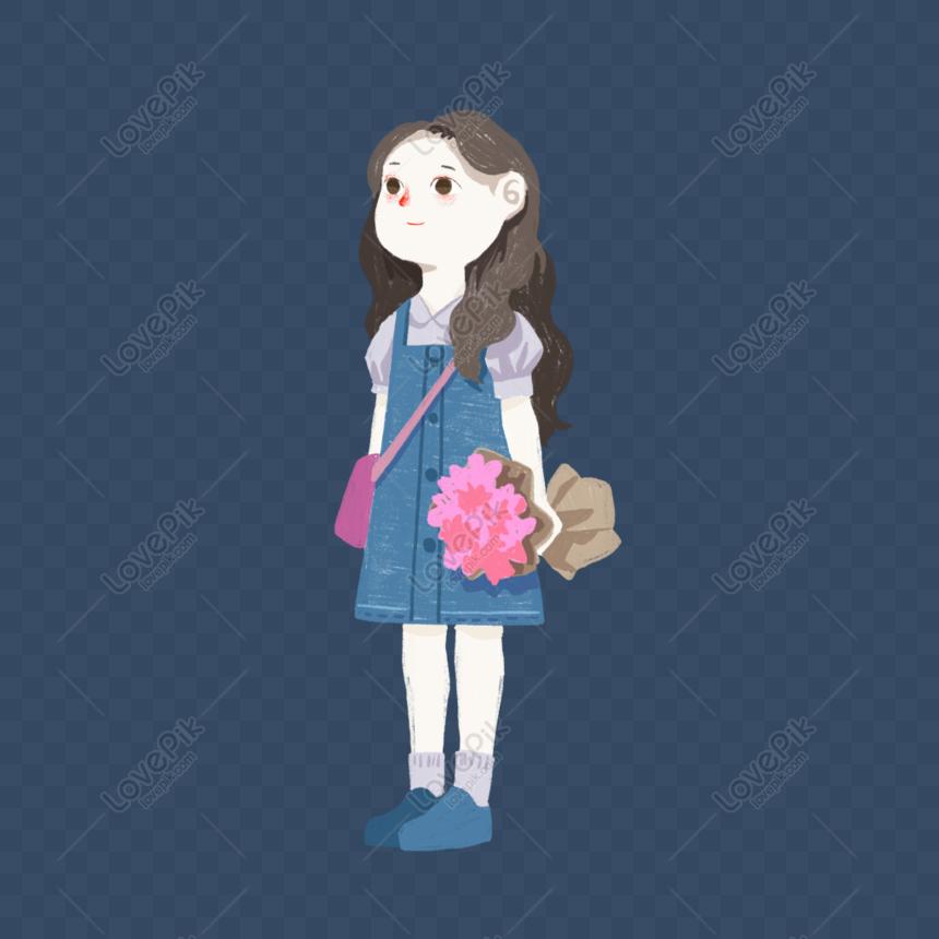 girl holding flower png