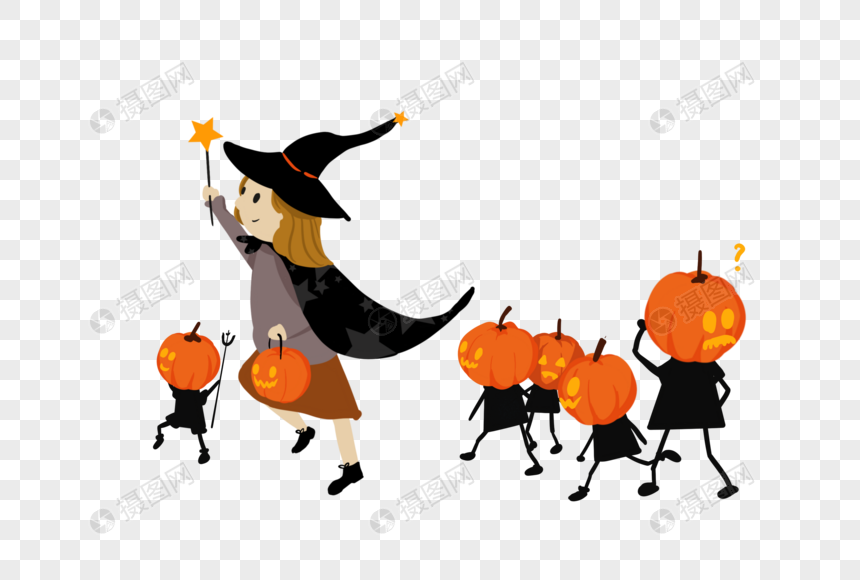 witch pumpkin lamp png