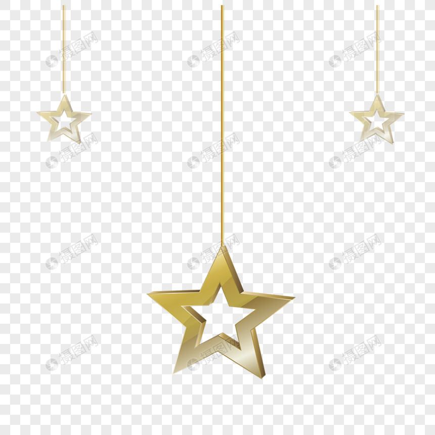 Golden decorative stars png image_picture free download
