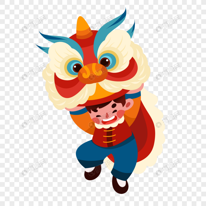 traditional lion dance cartoon character png