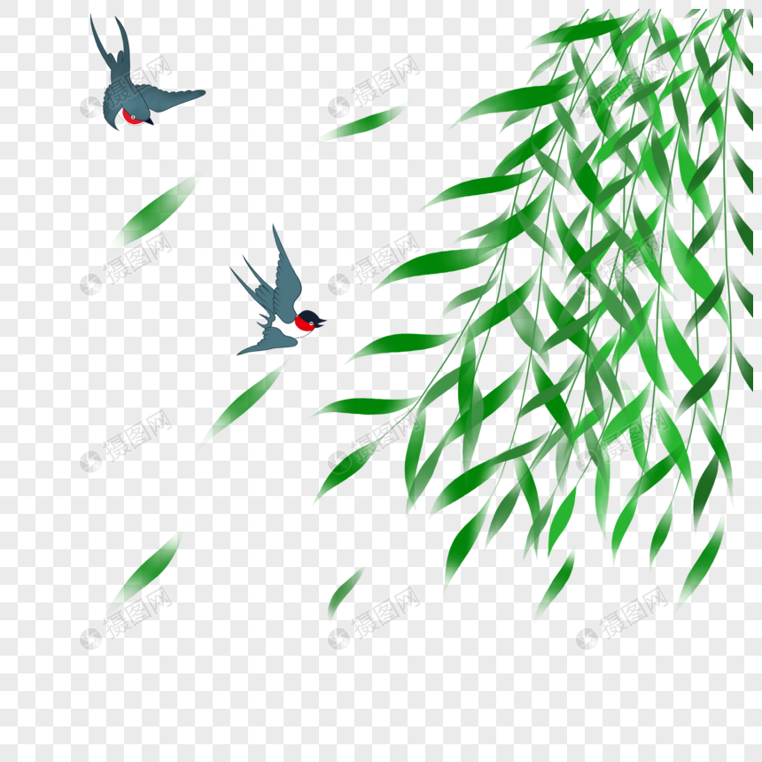 swallows flying among willow leaves png