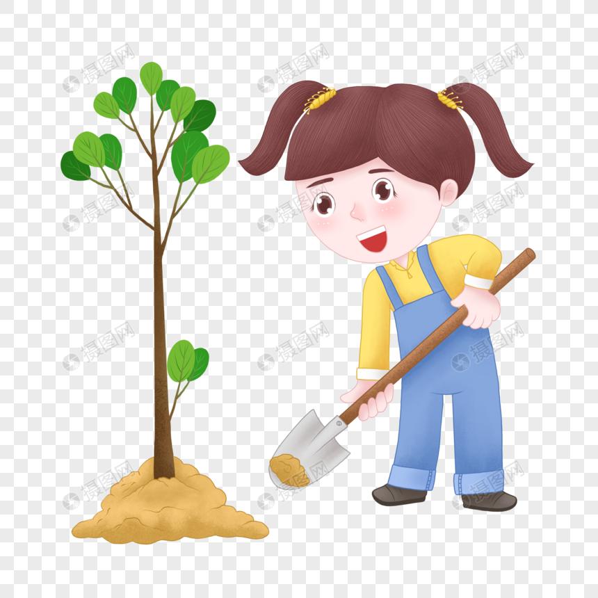 Lovepik صورة Psd 401676566 Id الرسومات بحث صور الكرتون فتاة الشجرة اليوم زرع شجرة