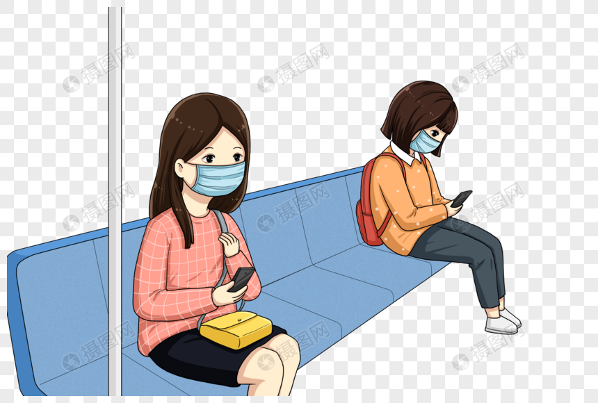 people wearing masks on the subway png