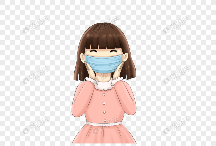 girl wearing a mask smiling png