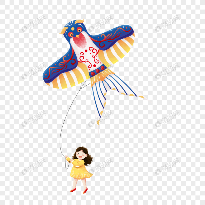 girl flying a kite png