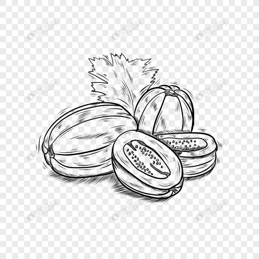 Food Black And White Line Fruit Melon Png Image Picture Free Download 401693341 Lovepik Com