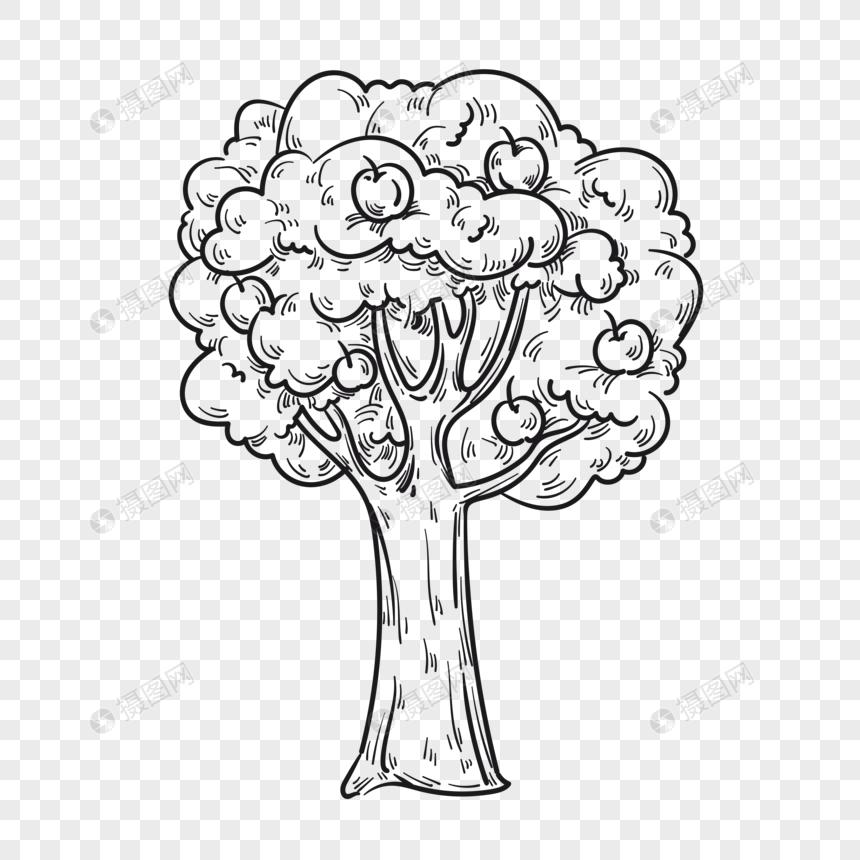 Lukisan Tangan Pokok Kayu Epal Yang