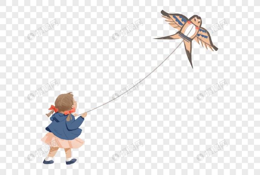 girl flying a kite in spring png
