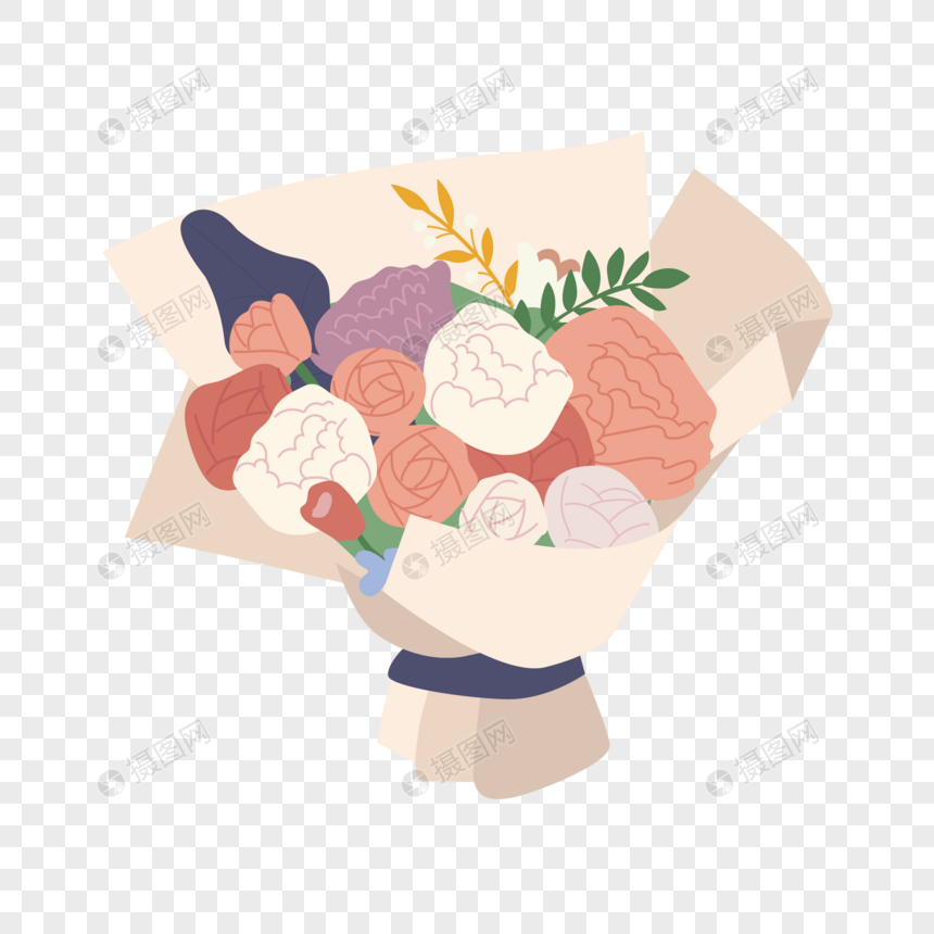 holding flowers png