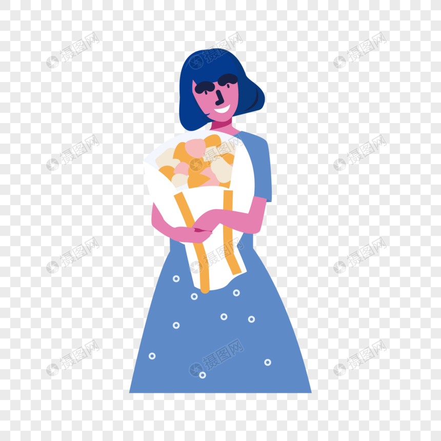 girl holding flowers png