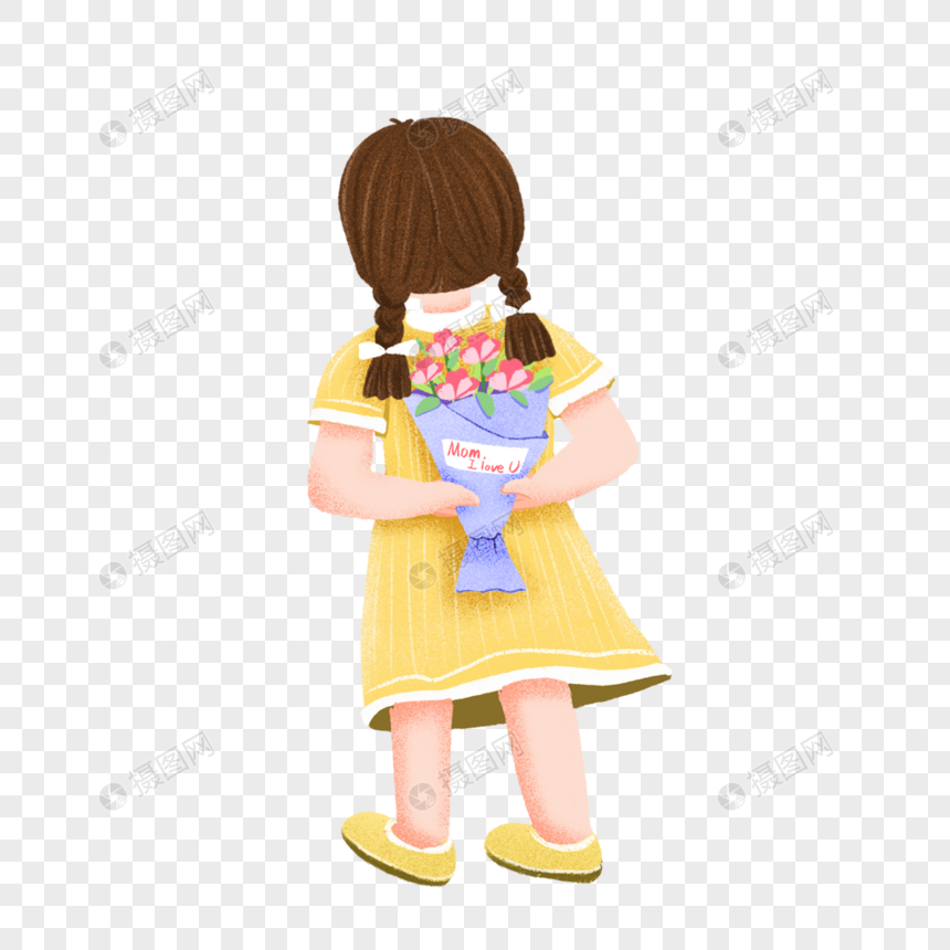 girl hiding holding flowers png