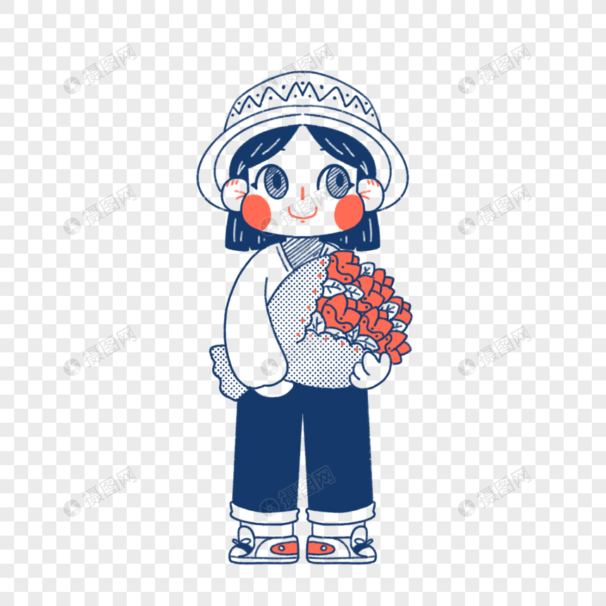 a stick figure of a girl holding flowers png