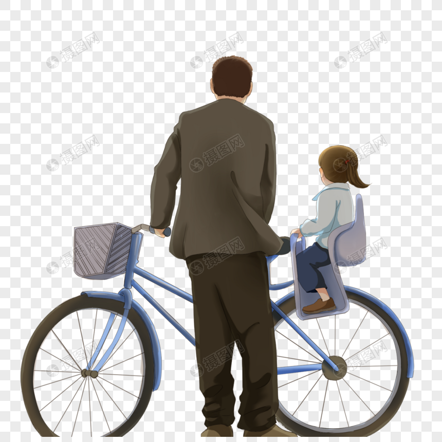 father riding a bike with children png