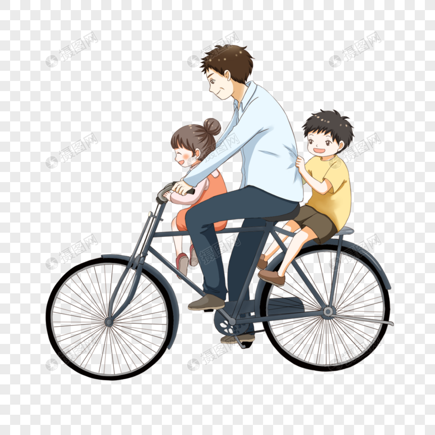 father riding a child on a bike png