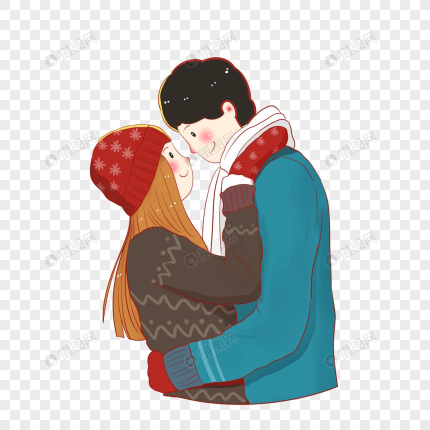 paar das im winter umarmt png