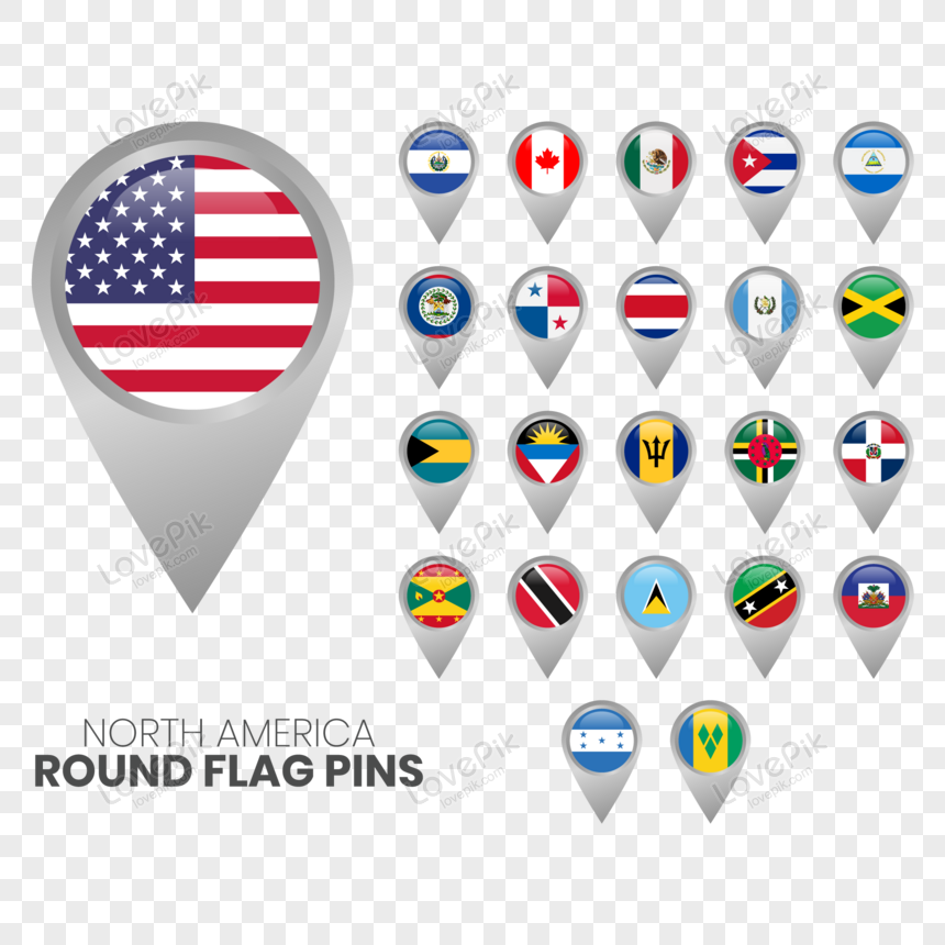 North America Flags With Map Pointers Png Image Picture Free Download 450005929 Lovepik Com