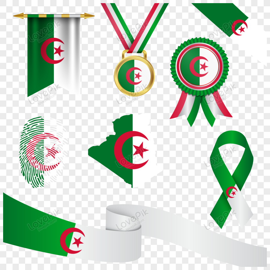 algeria flag in different shapes with map png