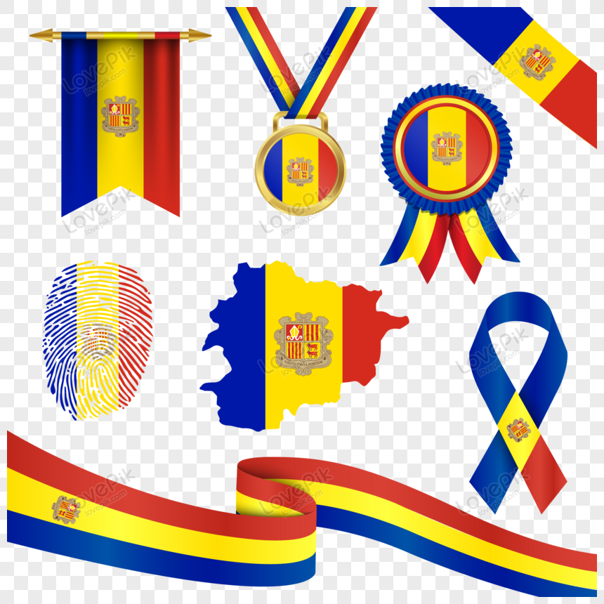 andorra flag in different shapes with map png
