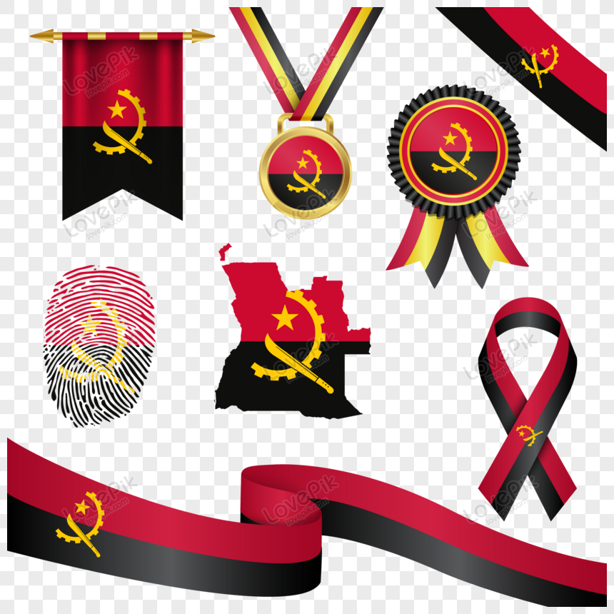 angola flag in different shapes with map png