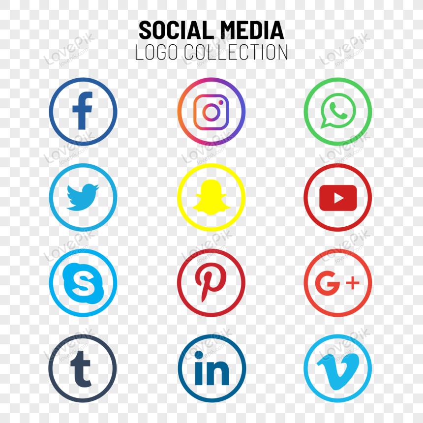 social media logo und icons set png