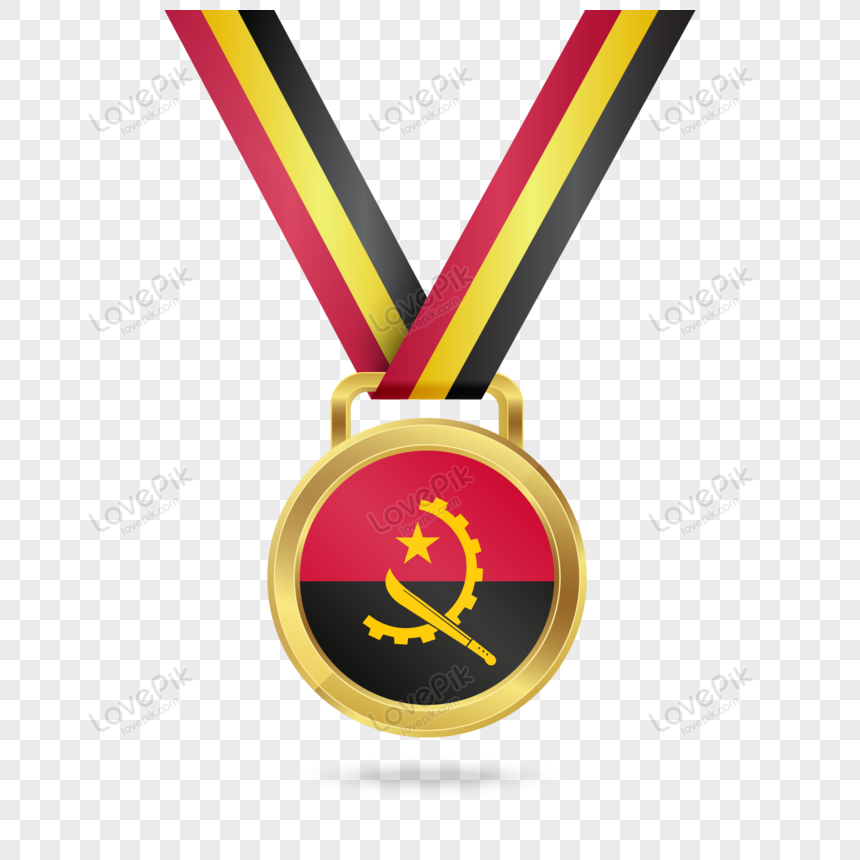 golden place medal with flag of angola png