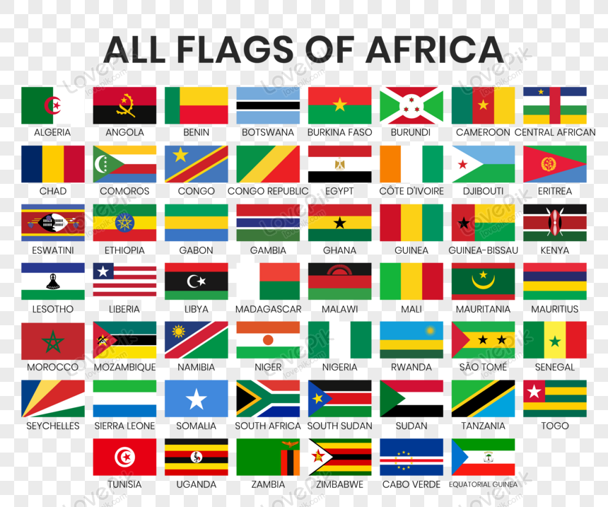 all national flags of african countries vector png