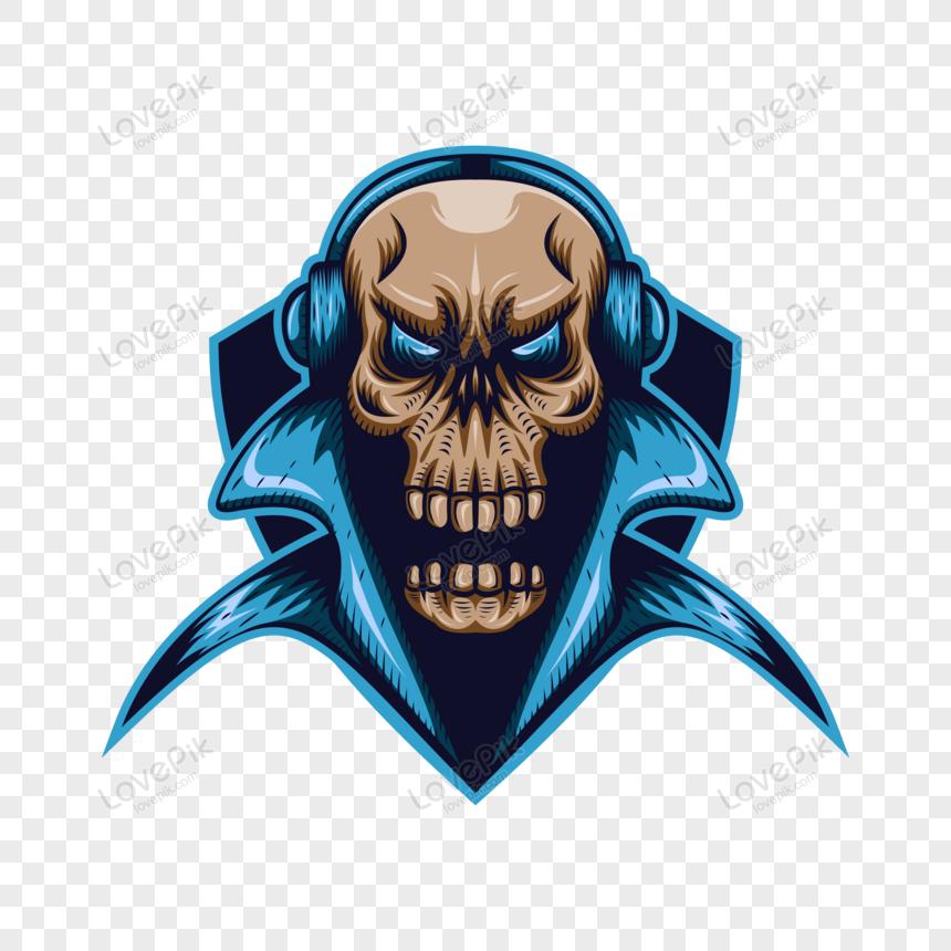 skull gaming shield mascot png