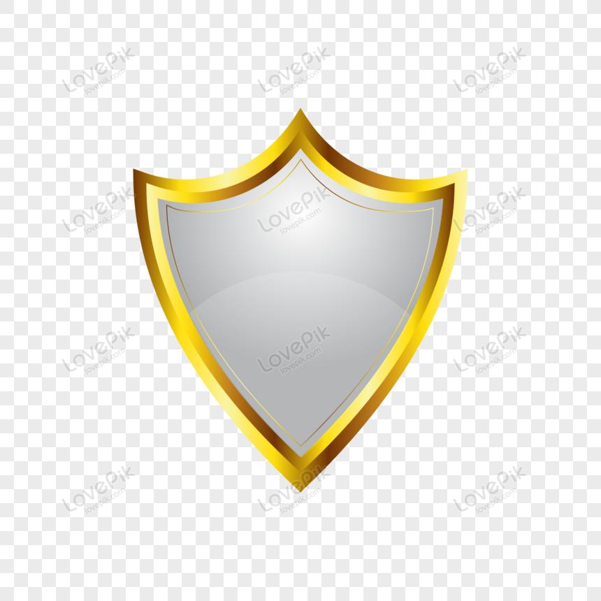 metal golden shield vector png