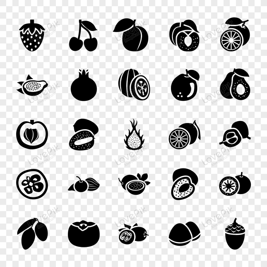 black fresh fruits icons collection vector png