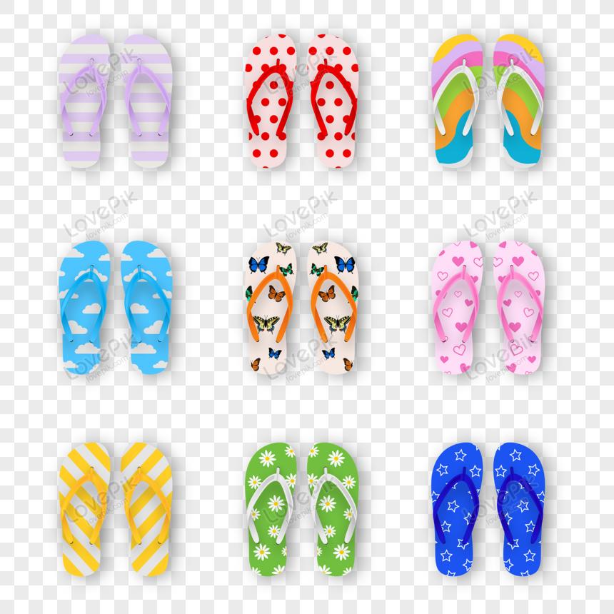 set of colorful flip flops png