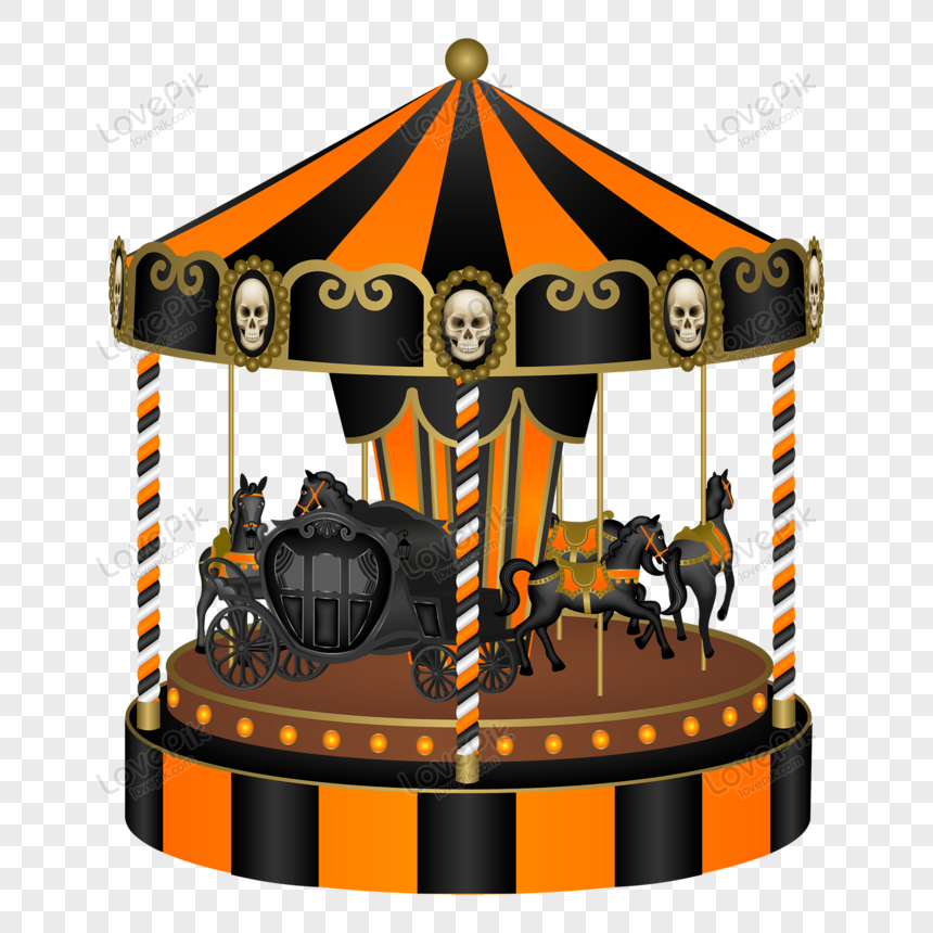 halloween carousel with black horses and old carriage png