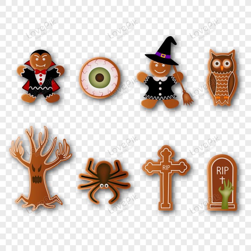estilo cartoon conjunto de biscoitos de halloween png