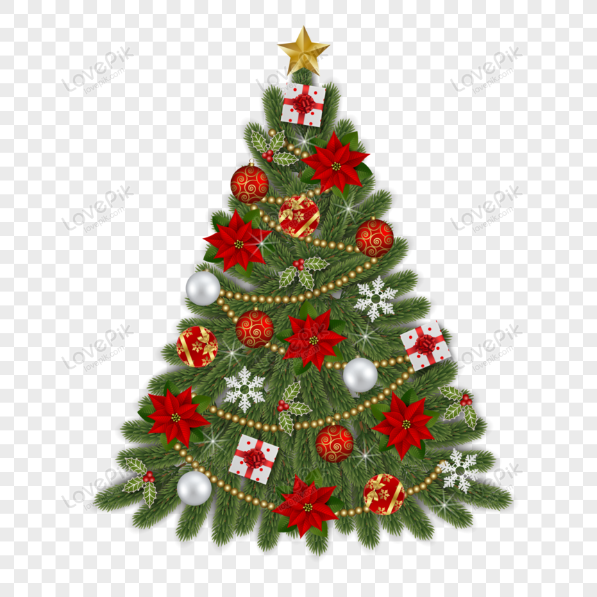 christmas tree with poinsettia flowers christmas balls gift bo png