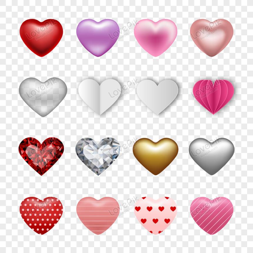 conjunto de corazones para el vector de decoración del día de san valentín png